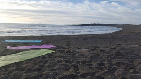 Yoga at Sandvík beach